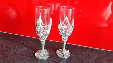 Hand crafted pewter wine glasses