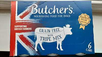 BUTCHER'S Wet Dog Food Tin Cans Grain Free Tripe Mix Pack of 6 x2(total 12 tins)