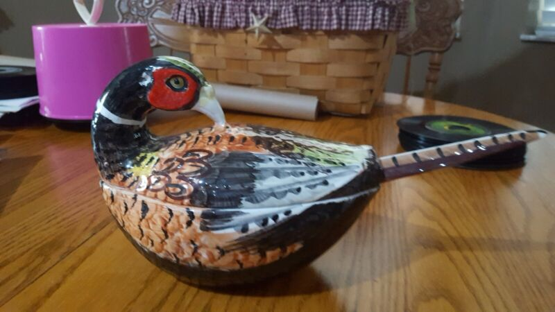 Vintage Ceramic Soup Tureen Pheasant  W/ Ladle Made In Italy