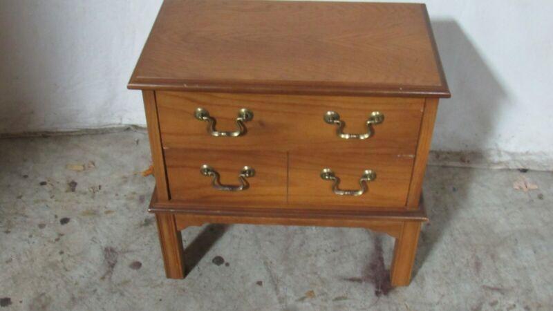 Lane Oak Petite Two Drawer Nightstand Table