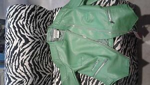 Green faux leather biker jacket size S from zara