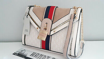 RIVER ISLAND Cream RI Monogram Front Stripe Padlock Cross Body Bag BNWT