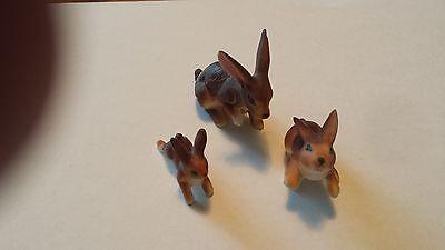 Bone China Miniature Rabbit Family Figurines - vintage 1960's