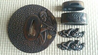 Tsuba Fuchi Kashira Menuki Japanese sword fittings.