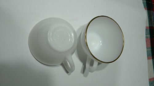 Vintage Fire King Oven Ware Milk Glass White with Gold Trim Coffee Cups 2 In Set