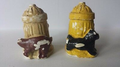 Salt Shaker and Pepper Shakers Ceramic Dogs on Fire Hydrants Collectible Only Fire Salt Shaker