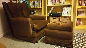 Vintage Velour Arm Chair occasional chair with matching ottoman Coomera Gold Coast North Preview