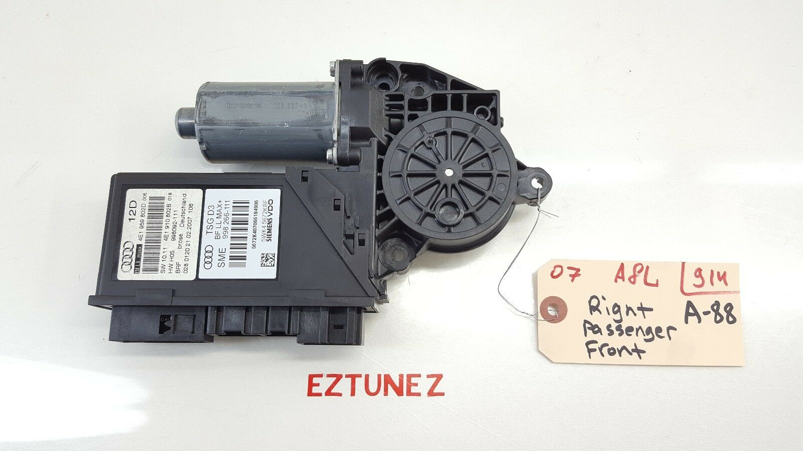 2004-2009 AUDI A8 A8L FRONT PASSENGER RIGHT POWER WINDOW LIFTER MOTOR OEM