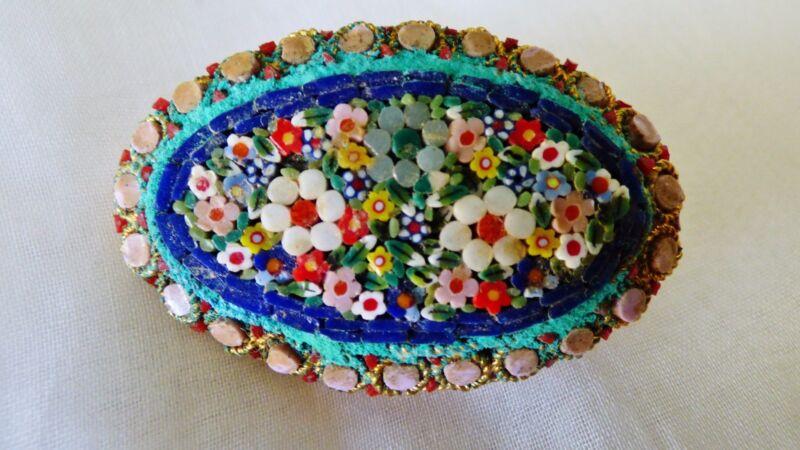 Vtg Italian Micro Mosaic inlay Oval Floral Brooch Pin