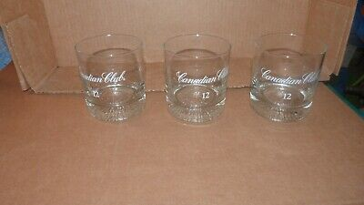 Set of 3 -Canadian Club Classic Whisky  Drinking Glasses (Canadian Club Glasses)