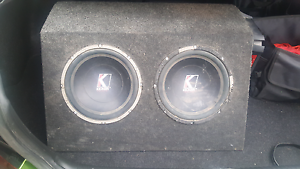 "Twin 10"" kicker free air subs in box with pioneer 2 channel amp Endeavour Hills Casey Area Preview"
