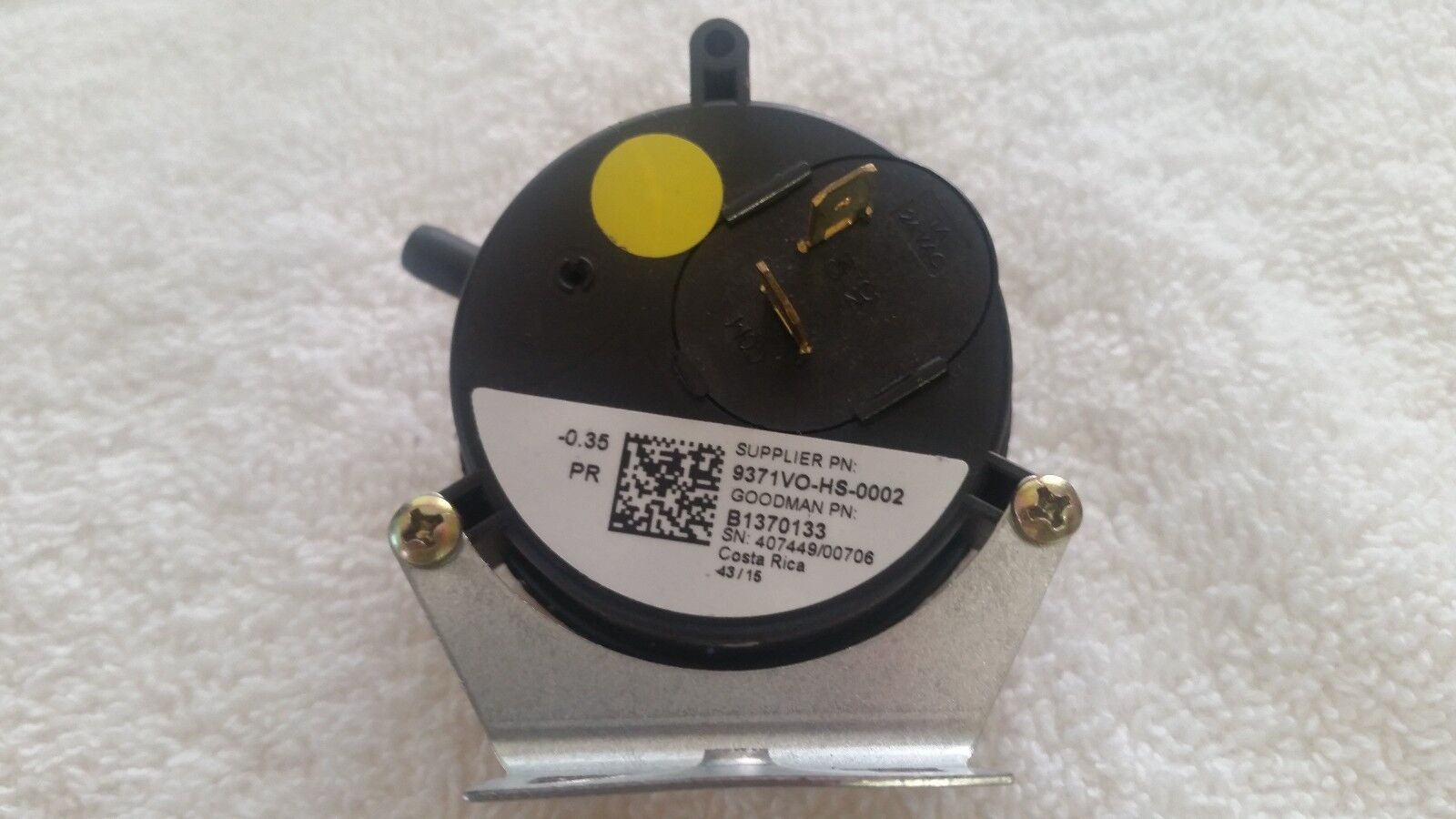 Amana Goodman B1370133 Gas Furnace Air Pressure Switch -0...