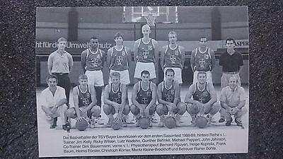 Mannschaftsbild Autogrammkarte Bayer Leverkusen Basketball Bundesliga 88/89
