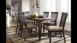 Brand New thick greyish/brown table and 6 solid chairs$1000