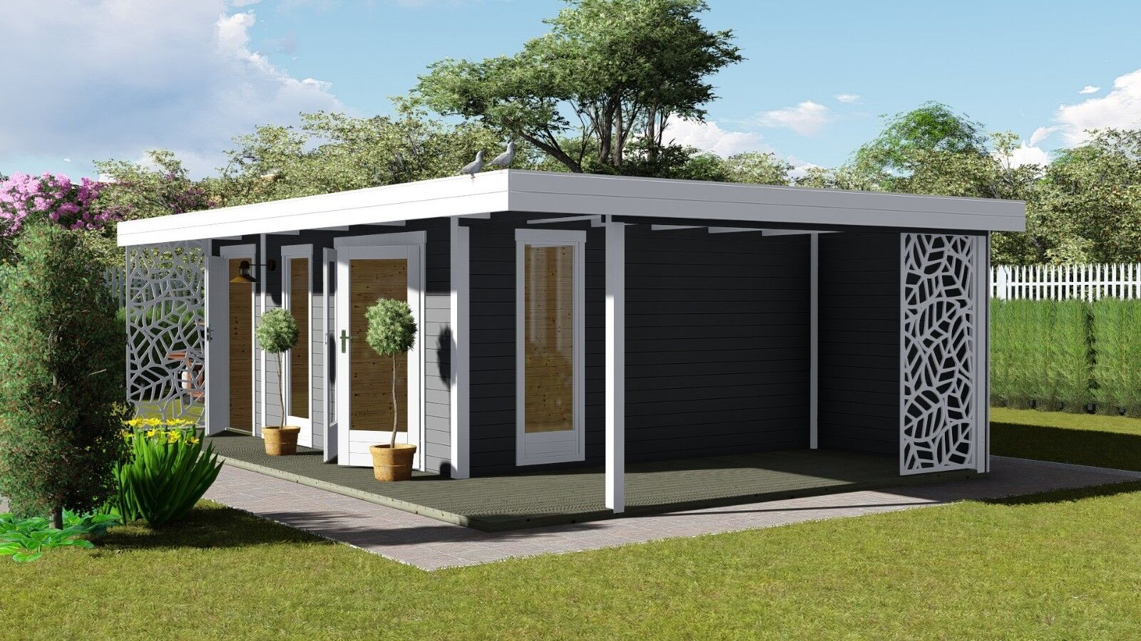 Gartenhaus Flachdach mit Anbau und Terrasse 4.5Mx3M+2M,40mm Holz,Celle 40225