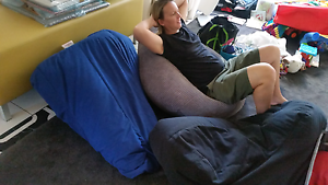 Beanbags: ultimate comfort. Blue, grey or black Sell by Anzac Day Robina Gold Coast South Preview