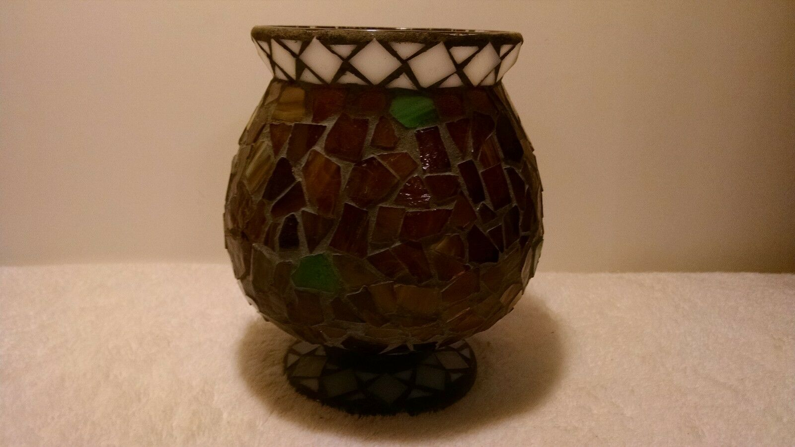 "Home Interiors and Gifts 7"" Mosaic Glass Hurricane Candle Holder Mosiac VN"
