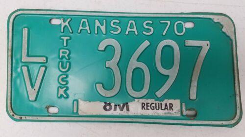 1970 KANSAS Leavenworth County 8M Regular Truck License Plate LV-3697