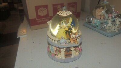 Disney Beauty & The Beast Musical Snow Globe Rare Vintage Rose Garden
