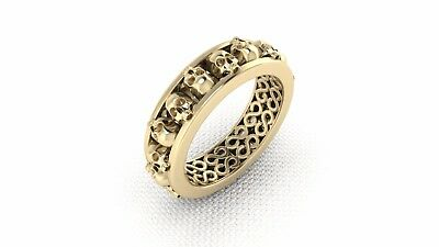 14K Solid Yellow Gold Mens Halloween Skull Band Ring