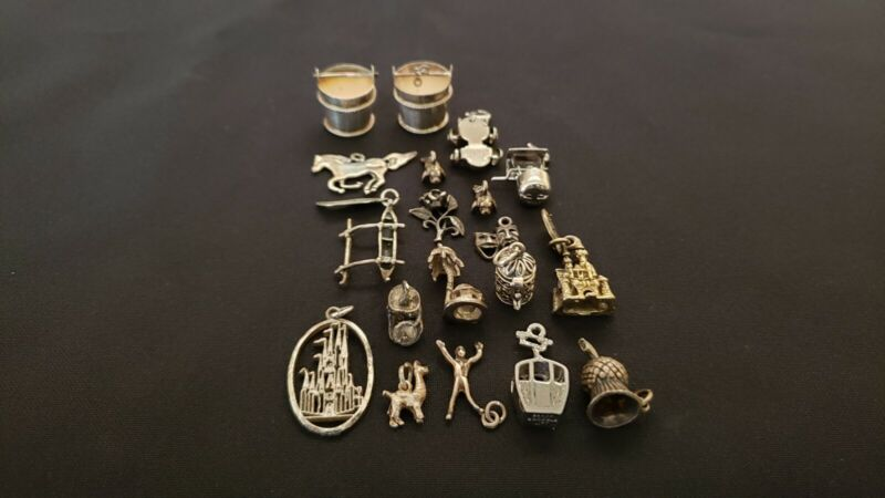 Lot of antique vintage sterling silver charms
