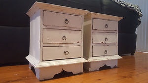 X2 BEDSIDE TABLES SHABBY CHIC Eastwood Ryde Area Preview