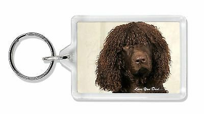 Irish Water Spaniel 'Love You Dad' Photo Keyring Animal Gift, DAD-59K