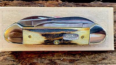 CASE XX POCKET KNIFE - 1996 GENUINE STAG 4 BLADE CANOE 54131 - ORIG BOX - NM NR