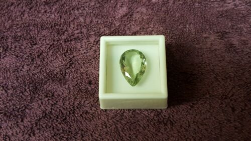 JTV Pear cut Super clean 22x15.5mm Prasiolite. 16.28ct VVS clarity
