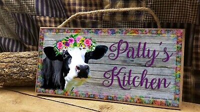 Personalized Black And White (Personalized Black and White Diva Cow Kitchen SIGN 5