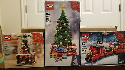 LEGO Christmas Tree (40338) Christmas Train (40138) Santa Snow Globe (40223)NEW!
