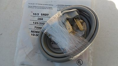 New 3 Prong Electric Dryer Suppy/Power Cord 250 Volt 30 Amp 6 Feet Long