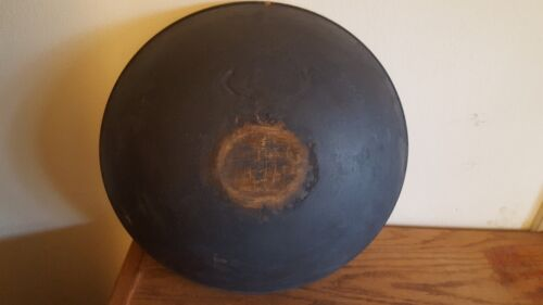 Antique Primitive Giant Size Wood Bowl With Great Blue Paint