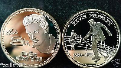 ELVIS PRESLEY Signature Gold Coin King of Rock Roll Pop Music Legend Medallion
