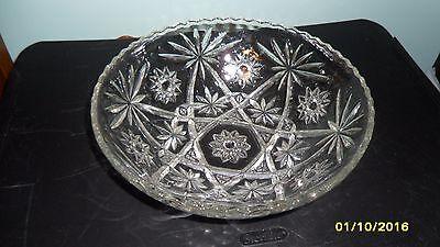"""Vintage Pressed Glass Serving Bowl -101/2"""" - Star Burst Pattern"""