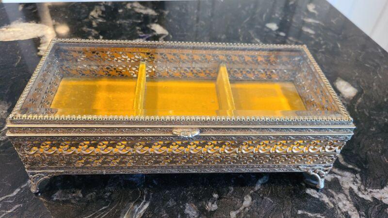 Vintage Ormolu Filigree Footed Large Beveled Glass Jewelry Casket Gold Trinket