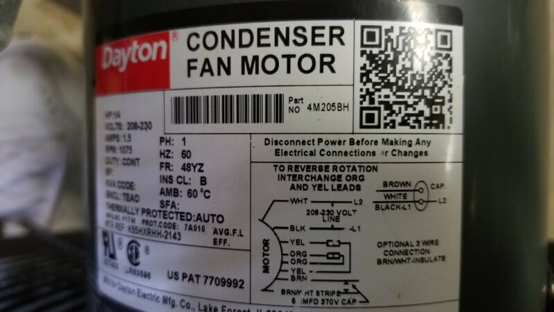 York/Coleman condenser fan motor and fan assy with wires