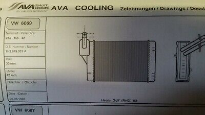 VW GOLF HEATER MATRIX