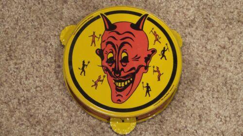 Original Vintage Tin Lithograph Halloween Devil Tambourine Noisemaker ~NICE ONE~