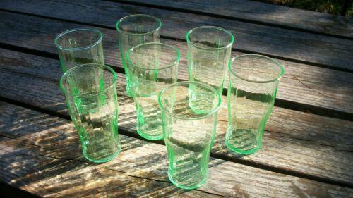 Vintage Depression Glass Green Uranium Ware Ribbed Juice Glasses 7 BEAUTIFUL!