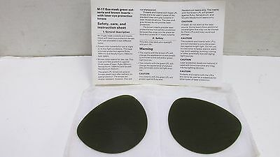 Us M17 A1 A2 Chem Bio Nbc Gas Mask Brown Laser Protective Eye Lens Inserts Nos