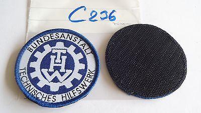 THW Armabzeichen Rund 70mm gewebt weiß auf blau 1 Stück mit Klett (c236)