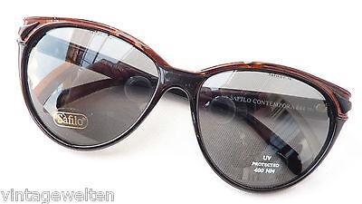 Safilo schwarzbraune Sonnenbrille dunkle Tönung Butterflyform Frauen Grösse L ()