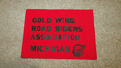 """Gold Wing Road Riders Ass. Michigan Flag-Red/Black-Motorcycle Club-9"""" x 7""""-New!"""