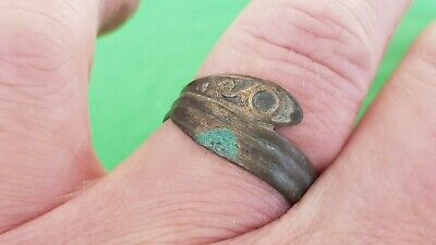 Superb huge Viking warrior's copper alloy snake ring Please read description L90