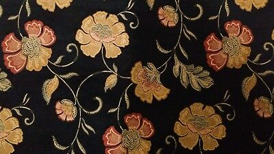 3 YD KASLEN TEXTILE ANGELINA BLACK FLORAL WOVEN CHENILLE HEAVY UPHOLSTERY FABRIC