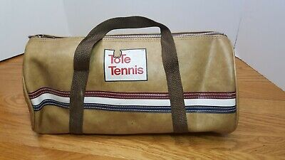 Tote Tennis Small Brown Duffle Duffel Bag Vintage 15
