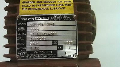 Textron Cone Drive Shu25 Shu25a147 2 Shu25a147 Ratio 50 1 50 1 Gear Box