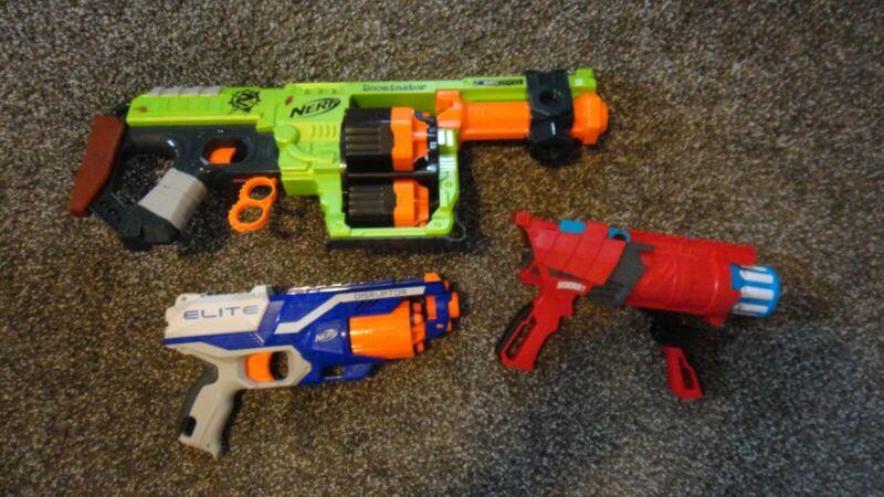 Lot of 3 Nerf Guns - Elite Disruptor, Boom co., Doominator