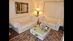 WHITE LEATHER CHESTERFIELD LOUNGE SUITE IN GREAT CONDITION Upper Coomera Gold Coast North Preview